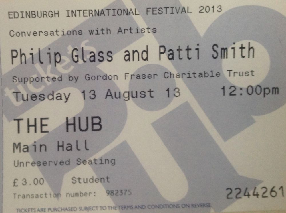 Patti Smith and Philip Glass The Poet Speaks Edinburgh Festival Aug 13th 2013 (2/3)