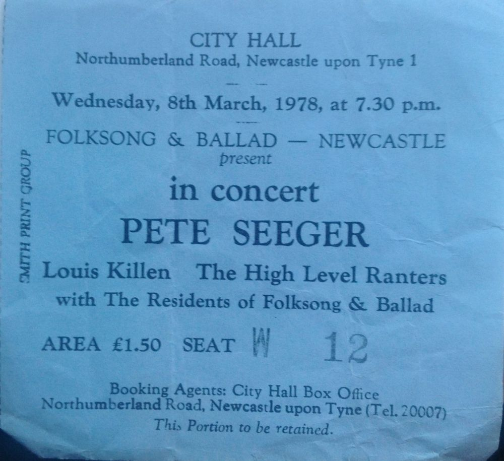 Pete Seeger Newcastle City Hall 8th March 1978