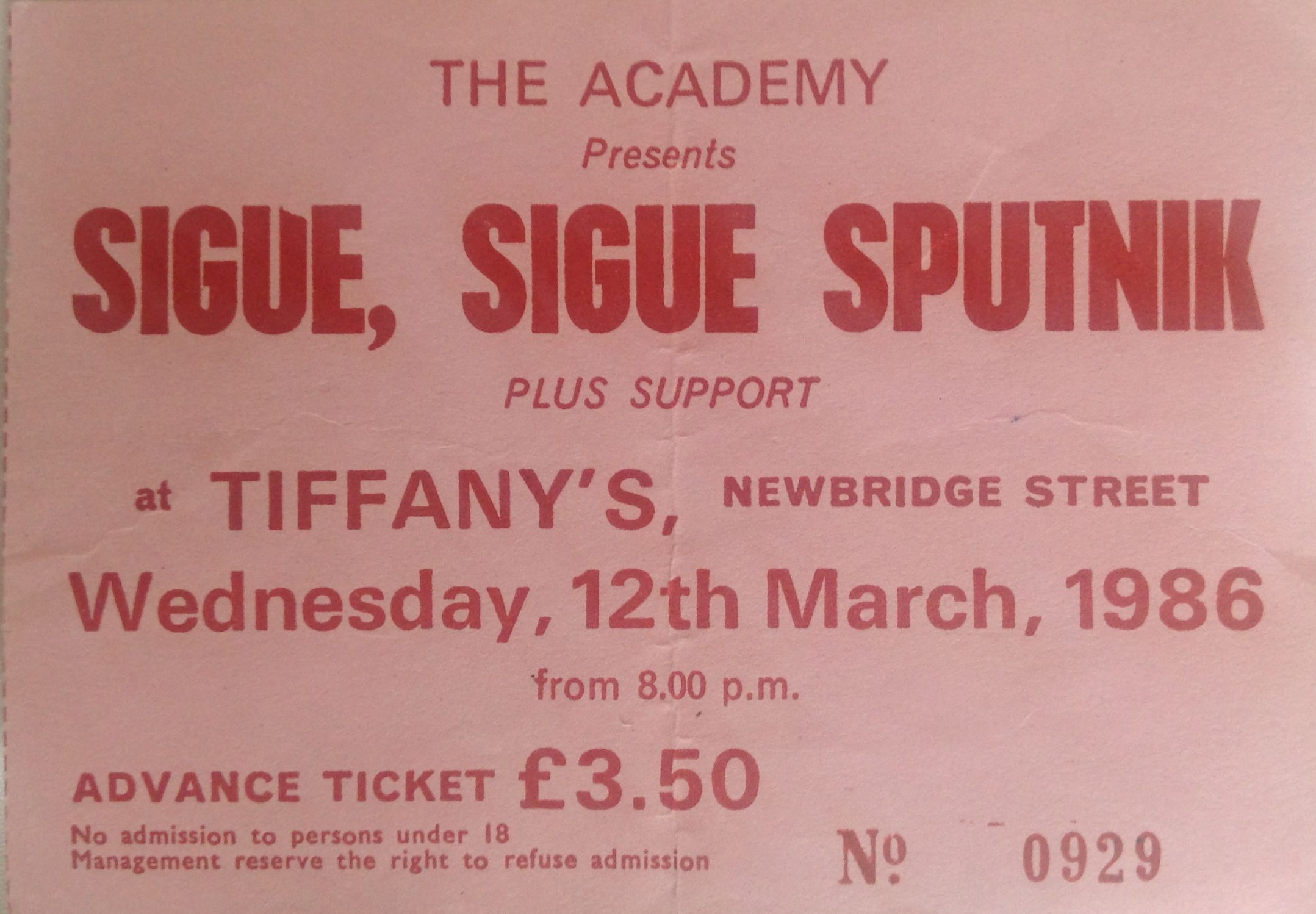 Sigue Sigue Sputnik Newcastle Mayfair 12th March 1986